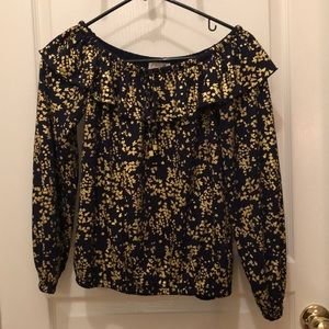 Michael Kors off the shoulder long sleeve blouse